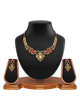 Golden N Red Colored Stone Necklace Set