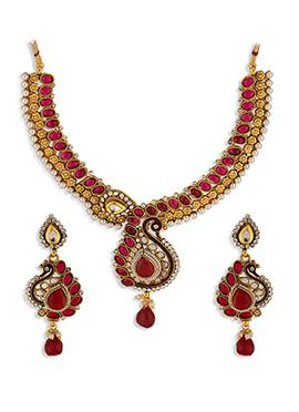 Golden N Red Colroed Necklace Set