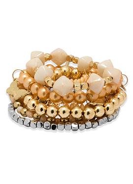 Golden N Silver Beads Bracelet
