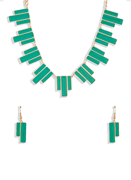 Golden N Turquoise Green Necklace Set