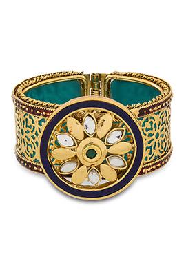 Golden N Turquoise Meenakari Bracelet