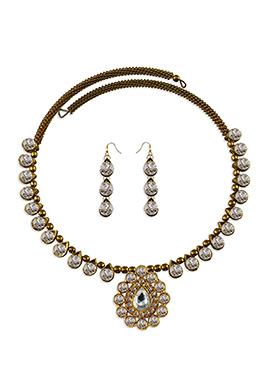 Golden N White Colored Choker Necklace Set