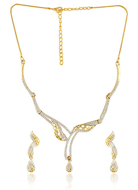 Golden N White Colored Necklace Set