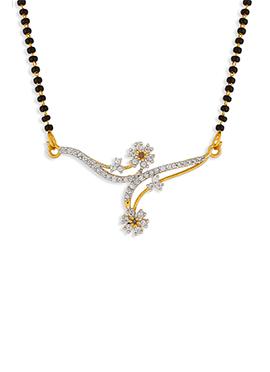 Golden N White Stone Enhanced Mangalsutra
