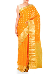Golden Orange Jacquard Pure Silk Saree