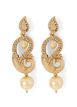 Golden Peacock Danglers Earring