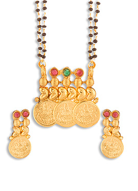 Golden Polki Studded Deity Coin Mangalsutra