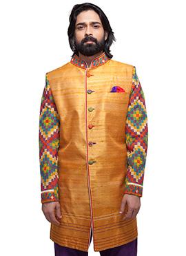 Golden Shade Raw Silk Sherwani