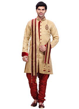 Golden Silk Brocade Kurta Pyjama