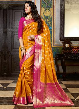 Golden Yellow Art Silk Zari Saree