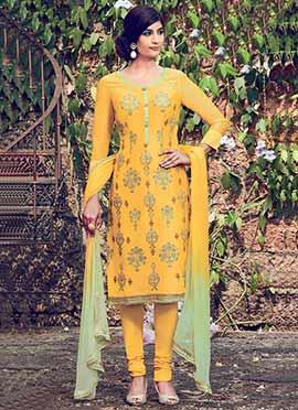 Golden Yellow Churidar Suit