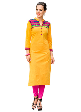 Golden Yellow Cotton Printed Kurti