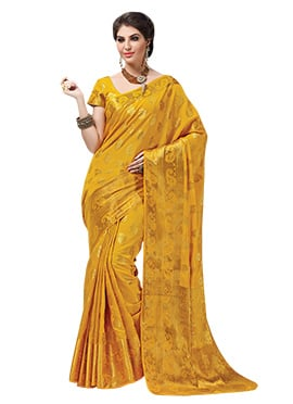 Golden Yellow Jacquard Saree