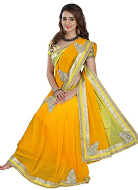 Golden Yellow N Lemon Green Georgette Saree