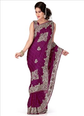 Gorgeous Look Crystals Enhanced Chiffon Saree