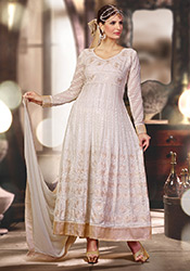 Gorgeous Off White Ankle Length Anarkali Suit