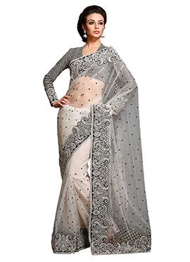 Gorgeous White Net Saree