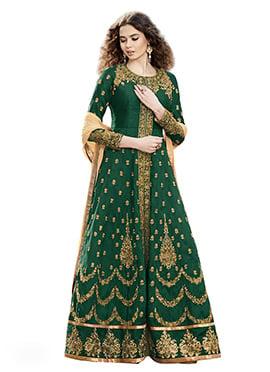 Green Ankle Length Anarkali Suit