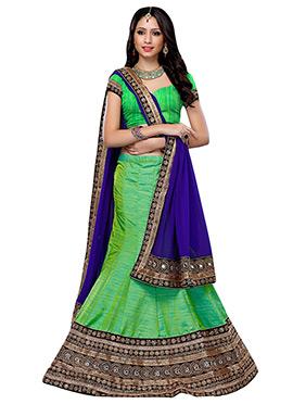 Green Art Dupion Silk A Line Lehenga Choli