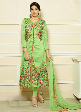 Green Art Silk Embroidered Center Slit Straight Suit