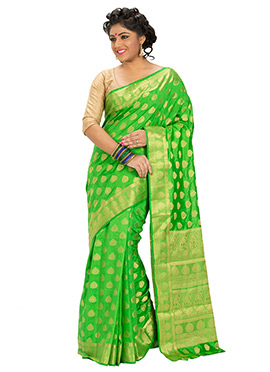 Green Art Silk Zari Weaved Designed Saree