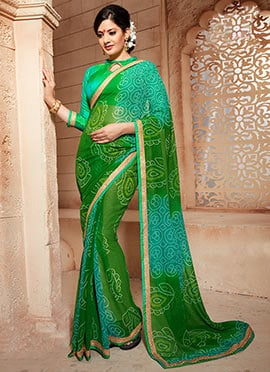 Green Bandhini Pattern Georgette Ombre Saree