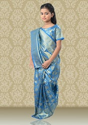 Blue Benarasi Silk Kids Saree