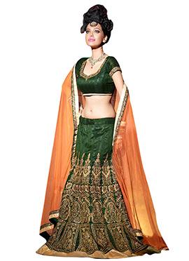 Green Bhagalpuri Silk Lehenga Choli