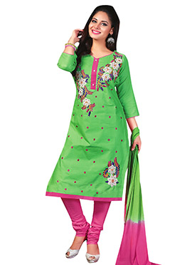 Green Blended Cotton Salwar Kameez