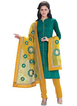 Green Chanderi Churidar Suit