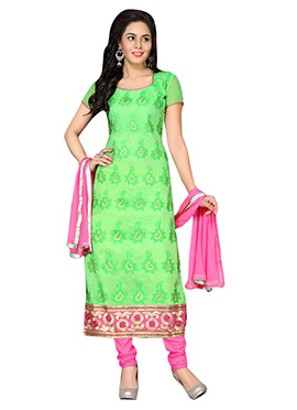 Green Chanderi Cotton Straight Suit