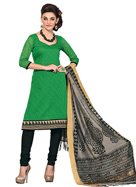 Green Chanderi Printed Churidar Suit