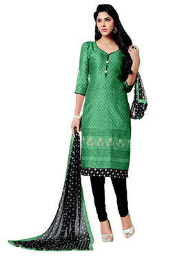 Green Chanderi Straight Suit