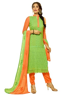 Green Chiffon Embroidered Straight Pant Suit