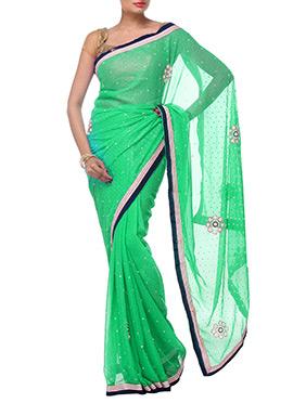 Green Chiffon Floral Design Saree
