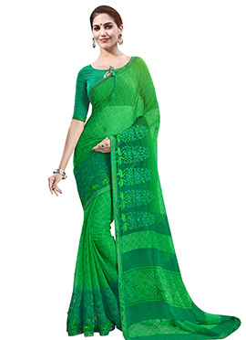 Green Chiffon Foliage Patterned Saree