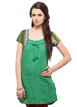 Green Cotton Casual Kurti from Home India