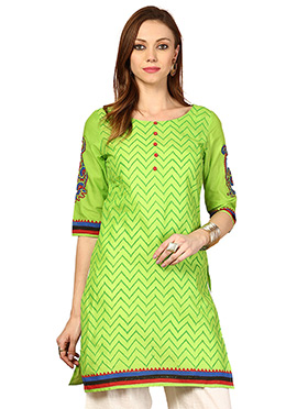 Green Cotton Ethnic Kurti from Home India