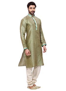 Green Cotton Kurta Pyjama