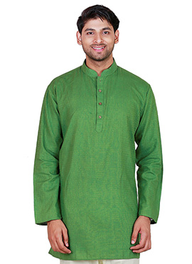 Green Cotton Short Kurta