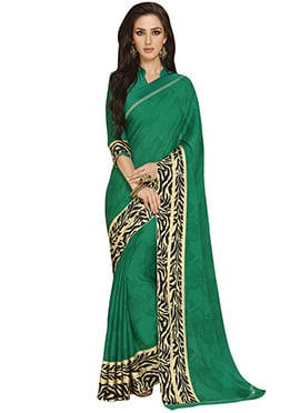 Green Crepe Foliage Patterned Saree