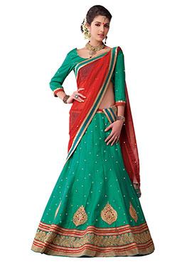 Green Embellished A Line Lehenga Choli