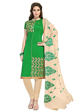 Green Embroidered Chanderi Churidar Suit