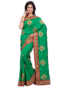 Green Embroidered Foliage Patterned Saree