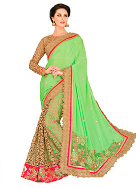Green Embroidered Half N Half Saree