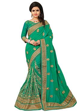 Green Embroidered Half N Half Saree