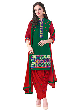 Green Embroidered Patiala Suit