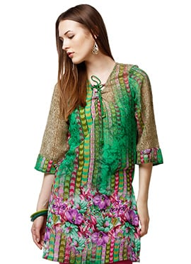 Green Faux Georgette Casual Kurti from Home India