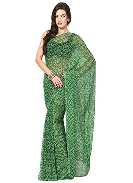 Green Georgette Bandhini Printed Saree