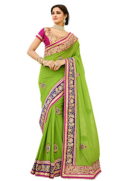 Green Georgette Embroidered Saree